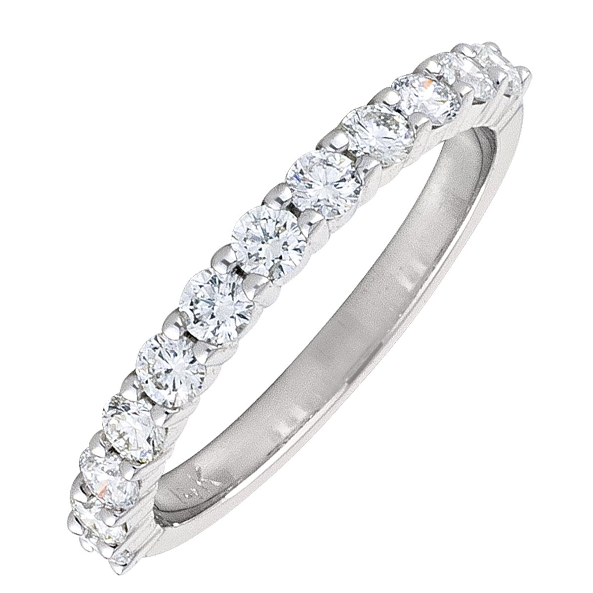 WHITE GOLD DIAMOND SHARED CLAW HALF ETERNITY BAND  (AVAILABE IN VARIOUS STONE AND RING SIZE).