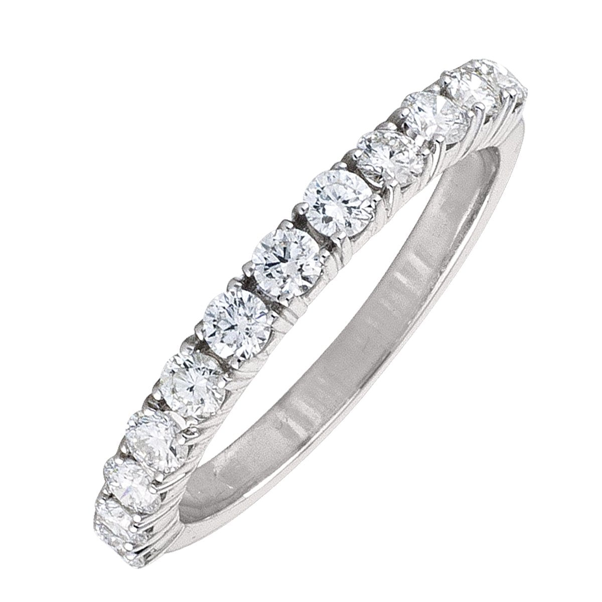 WHITE GOLD DIAMOND FOUR CLAW HALF ETERNITY BAND  (AVAILABE IN VARIOUS STONE AND RING SIZE).