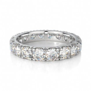 WHITE GOLD DIAMOND FOUR CLAW FULL  ETERNITY BAND