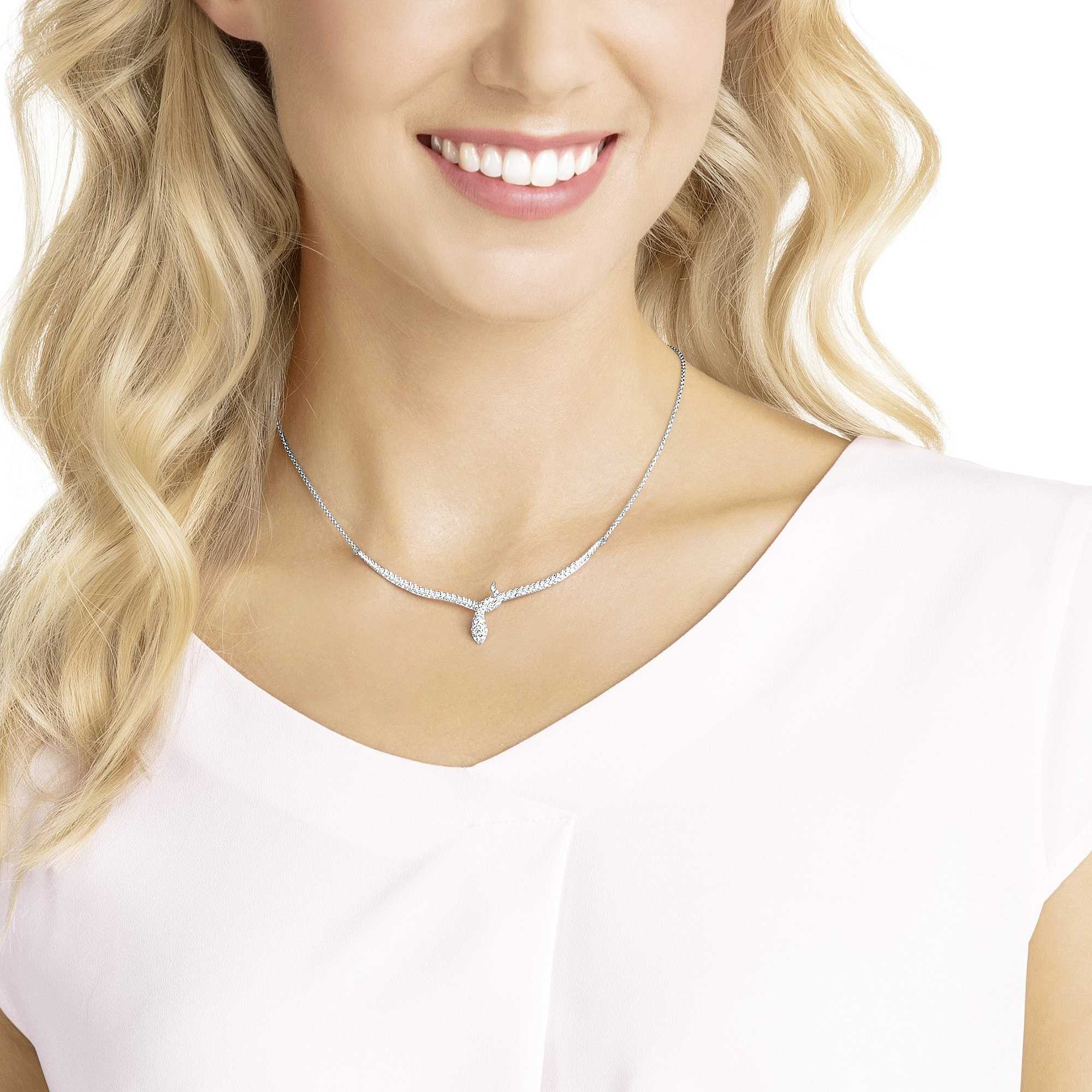 SWAROVSKI LESLIE NECKLACE, WHITE, RHODIUM PLATING