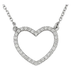 WHITE GOLD LARGE DIAMOND OPEN HEART NECKLACE