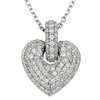 WHITE GOLD LARGE DIAMOND PUFFED HEART NECKLACE