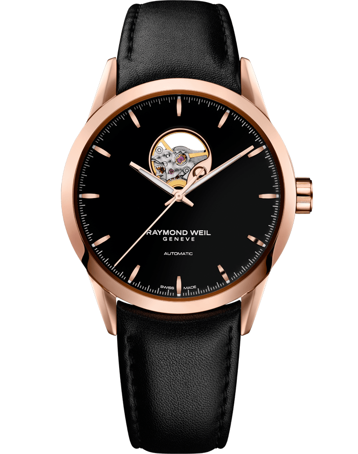 RAYMOND WEIL ROSE GOLD ON LEATHER WITH VISIBLE BALANCE WHEEL
