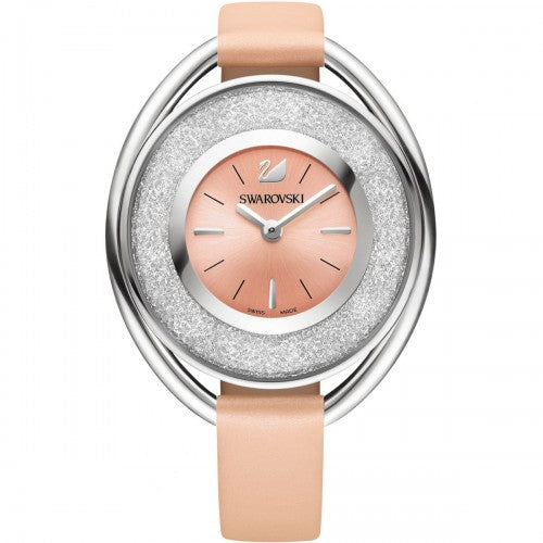SWAROVSKI CRYSTALLINE OVAL STAINLESS STEEL & LIGHT PINK LEATHER WATCH