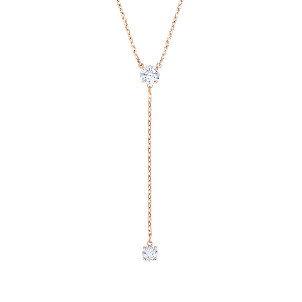 SWAROVSKI ATTRACT Y NECKLACE, WHITE, ROSE GOLD PLATING