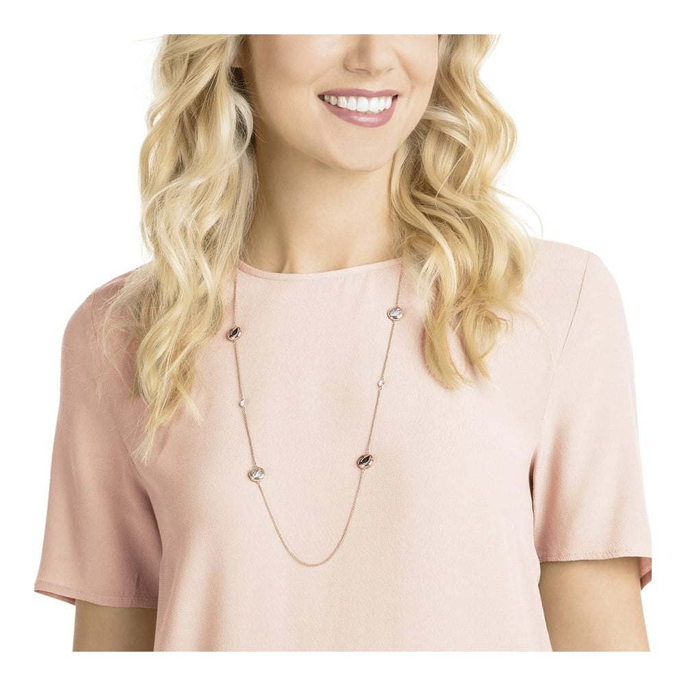 SWAROVSKI HALL SWAN STRANDAGE NECKLACE, GRAY, ROSE GOLD PLATING