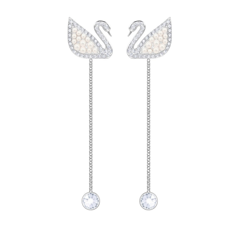 SWAROVSKI ICONIC SWAN PIERCED EARRINGS, WHITE, RHODIUM PLATING