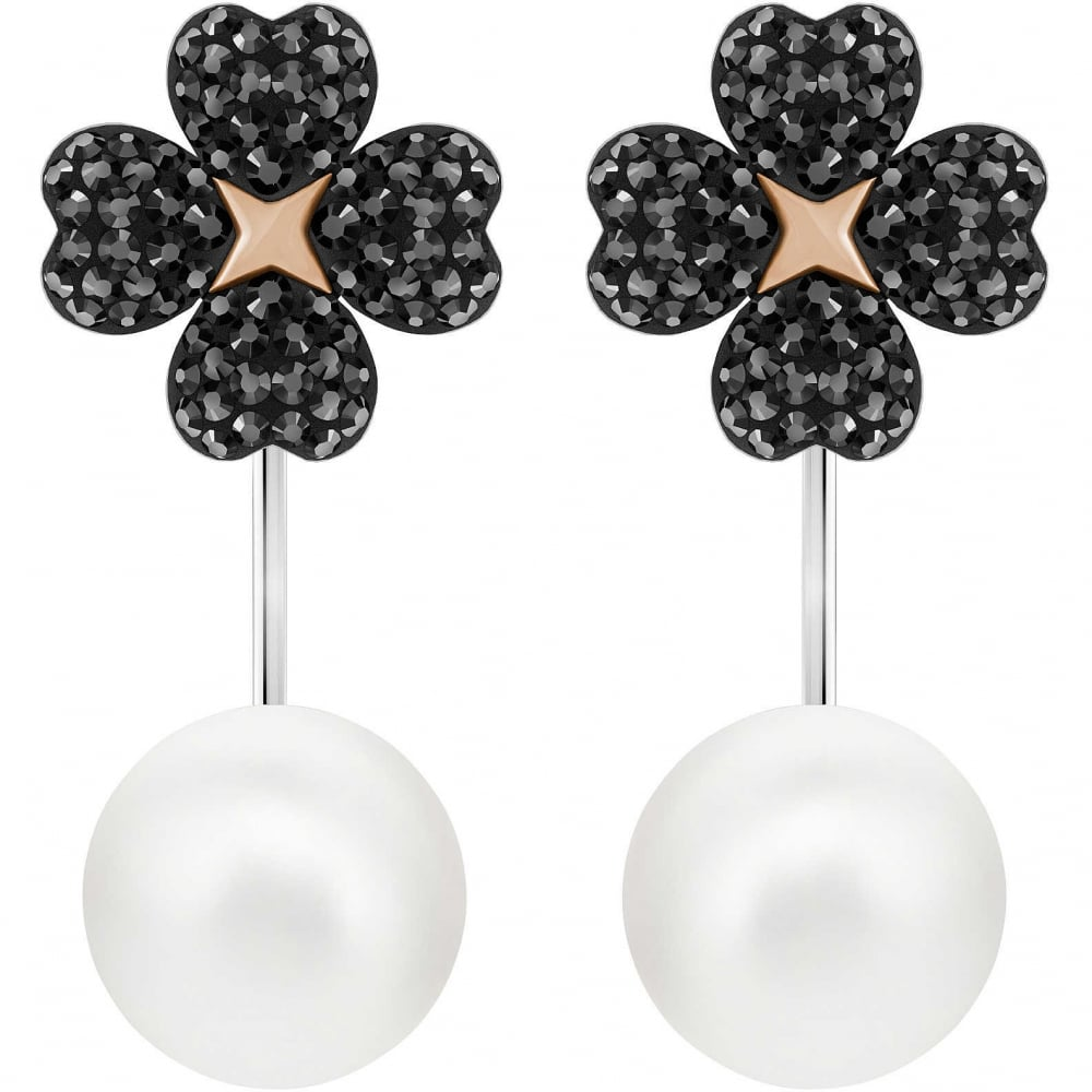 SWAROVSKI LATISHA PIERCED EARRINGS JACKETS, BLACK, MIXED PLATING