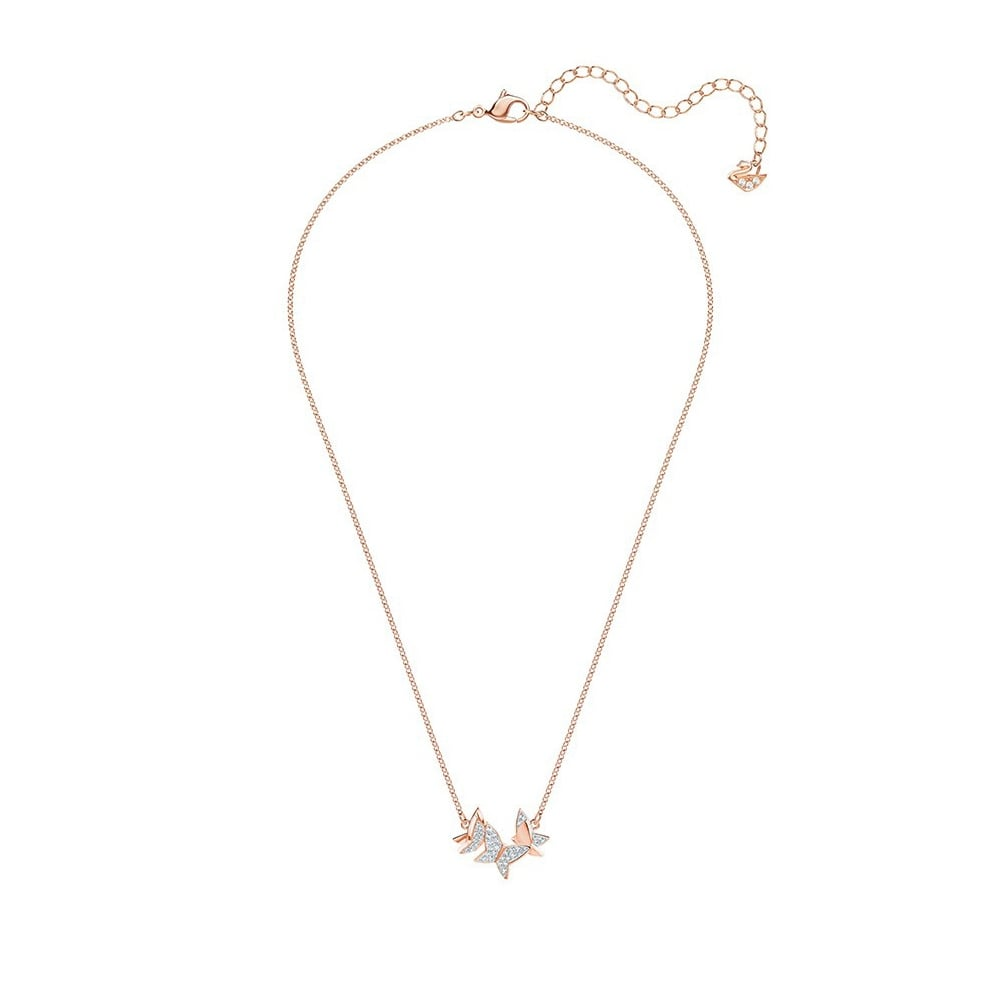 SWAROVSKI LILIA NECKLACE, SMALL, WHITE, ROSE GOLD PLATING