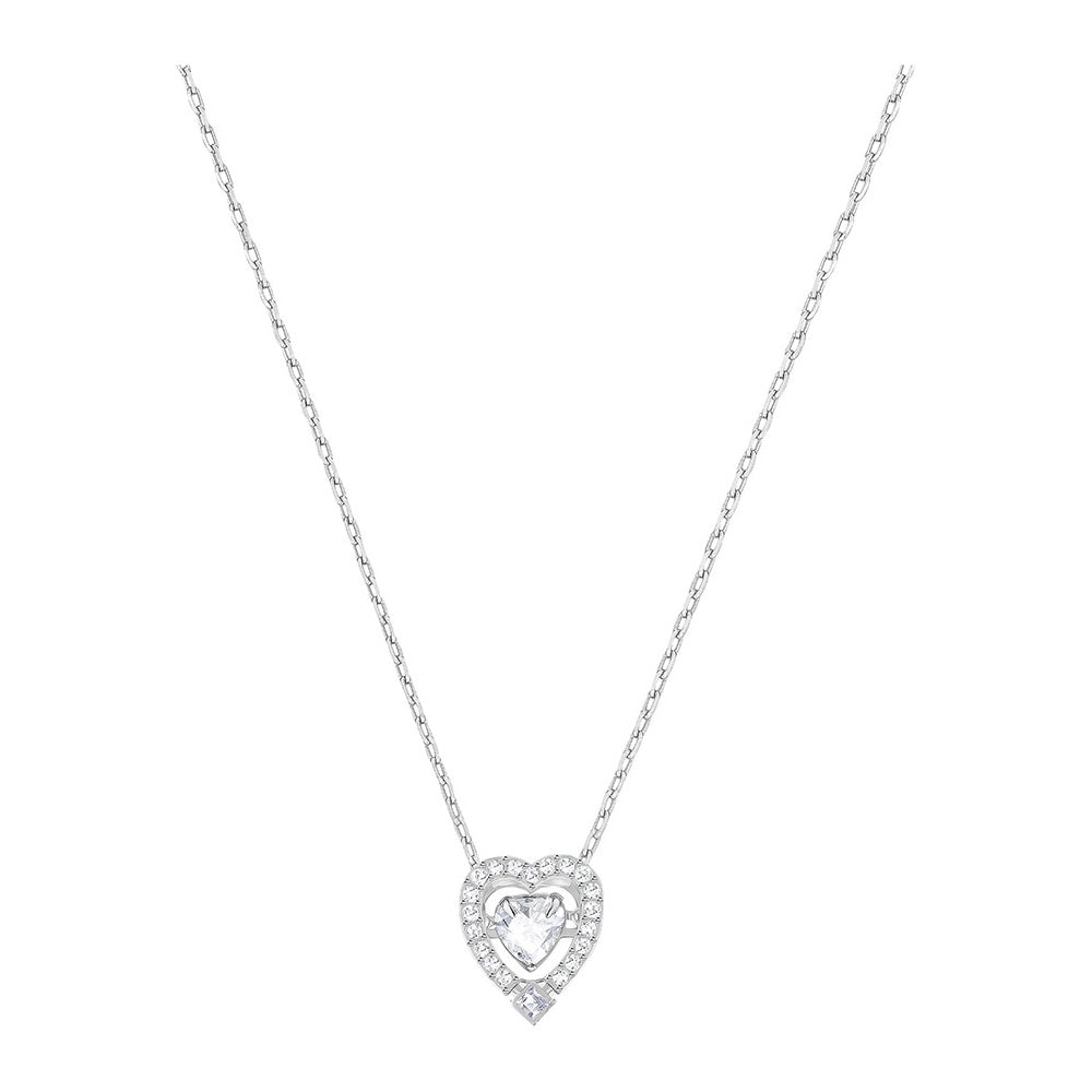 SWAROVSKI SPARKLING DANCE HEART NECKLACE, WHITE, RHODIUM PLATING