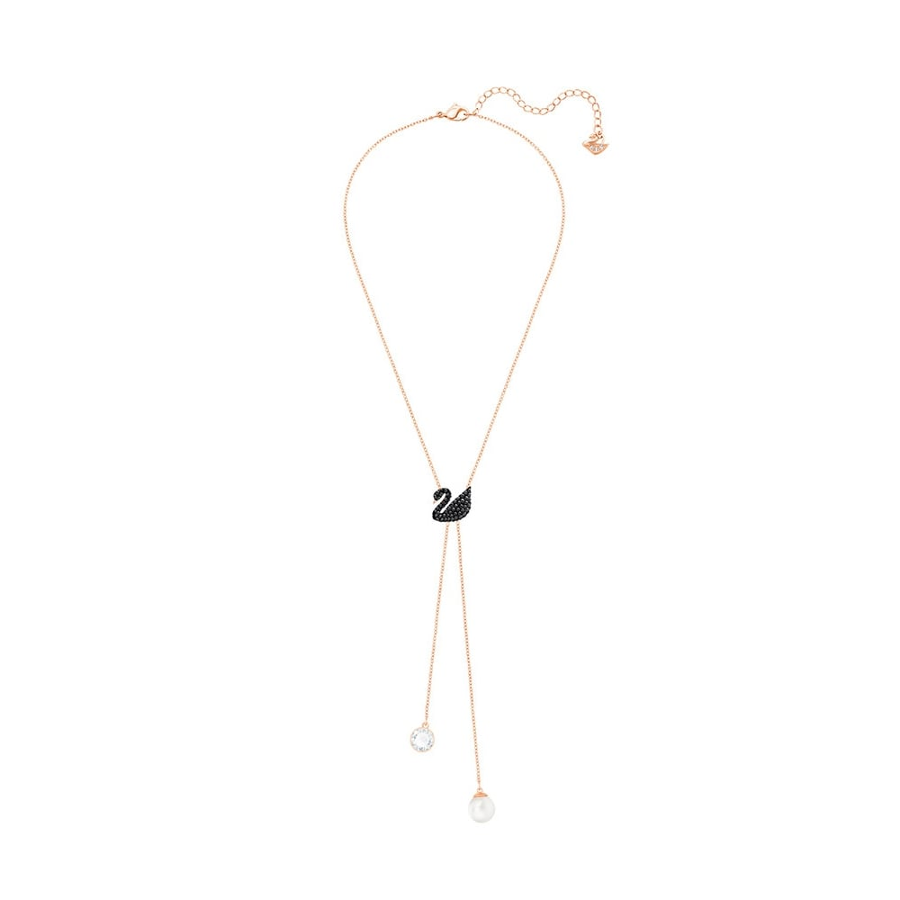 SWAROVSKI ICONIC SWAN DOUBLE Y NECKLACE, BLACK, ROSE GOLD PLATING