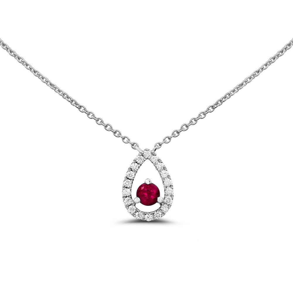 White Gold Floating Ruby Necklace
