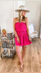 Hot Pink Smocked Tube Dress