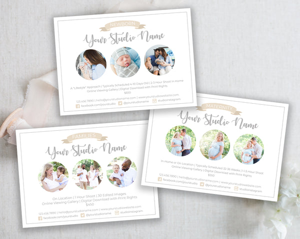 3 Marketing Cards Photoshop Templates, Maternity, Newborn and Families