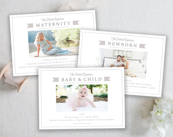 3 Marketing Templates (Maternity, Newborn and Baby & Child) - Gray Tabs