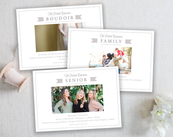 3 Marketing Templates (Boudoir, Family and Senior) - Gray Tabs