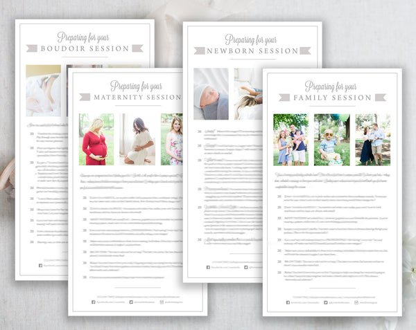 Photographer Client Preparation Guide Templates - 4 Pack - Gray Tabs