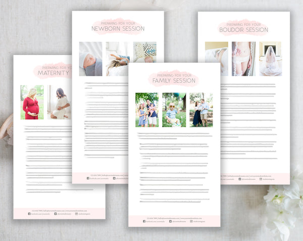 Photographer Client Preparation Guide Templates - 4 Pack - Pink Watercolor