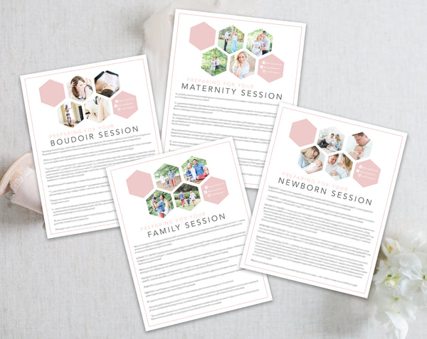 Photographer Client Preparation Guide Templates - 4 Packs - Pink Hexagon
