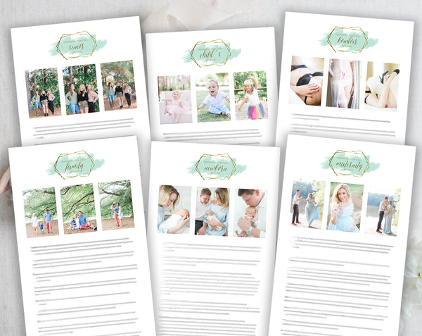 Photographer Client Preparation Guide Templates - 6 Pack - Gold + Mint Watercolor