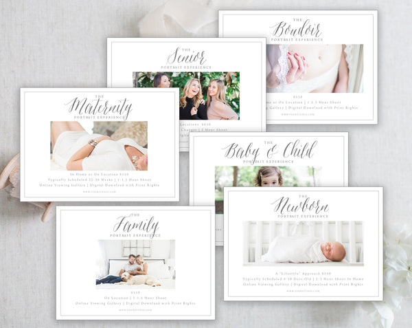 6 Marketing Templates (Newborn, Maternity, Senior, Family, Baby & Child, Boudoir)  - Modern Gray