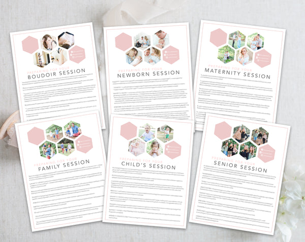 Photographer Client Preparation Guide Templates - 6 Pack - Pink Hexagon