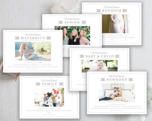 6 Marketing Templates (Newborn, Maternity, Senior, Family, Baby & Child, Boudoir) - Gray Tabs