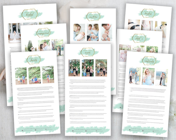 Photographer Client Preparation Guide Templates - 8 Pack - Gold + Mint Watercolor