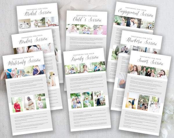 Photograph client preparation guidess -8 pack, Newborn, Maternity Child's, Senior, Boudoir,Family, Bridal and Engagement