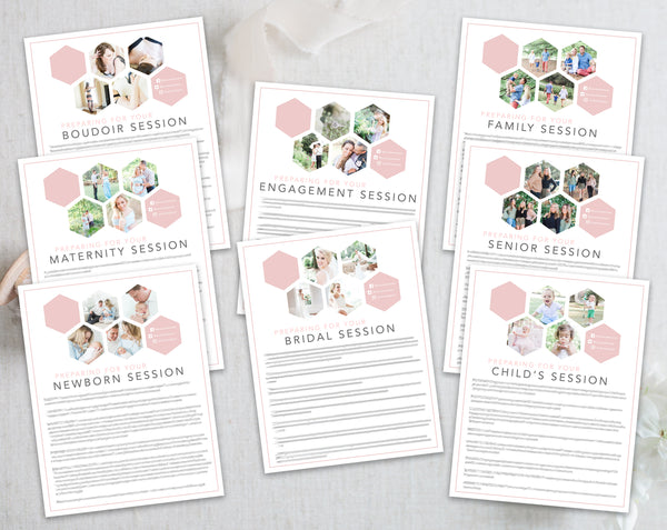 Photographer Client Preparation Guide Templates - 8 Pack - Pink Hexagon