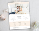 White & Tan Studio Template for Photographers. Lifestyle Package Price List. Instant Download
