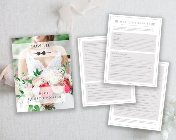 Photography Client Blog Questionnaire, Photoshop Template