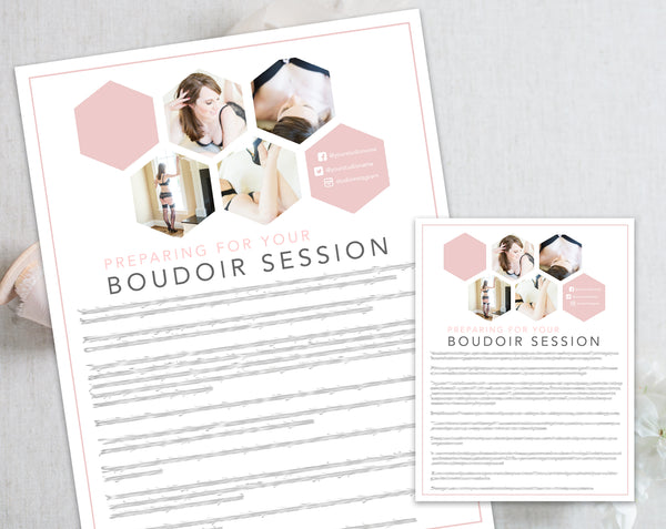 Boudoir Client Prep Guide Template - Pink Hexagon