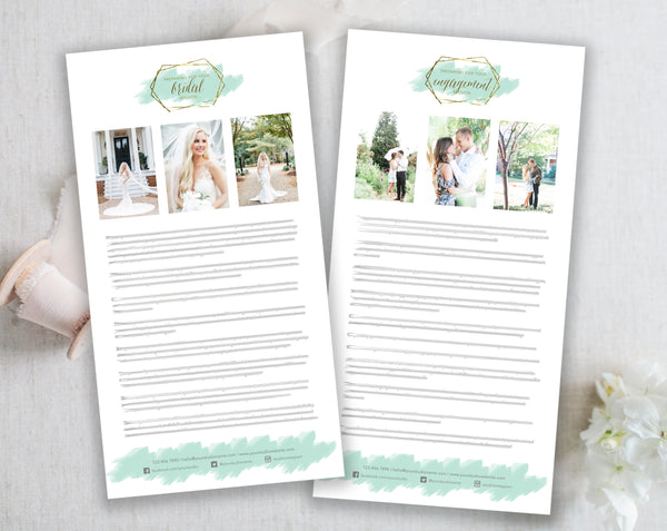 Bridal & Engagement Client Prep Guide Templates - Gold + Mint Watercolor