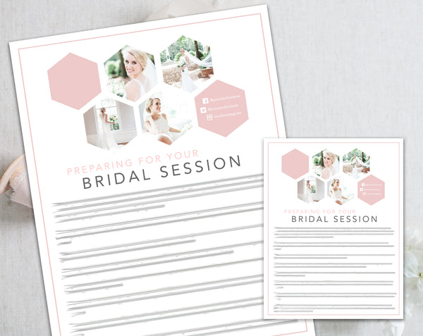 Bridal Client Prep Guide Template - Pink Hexagon