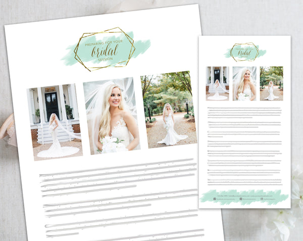 Bridal Client Prep Guide Template - Gold + Mint Watercolor