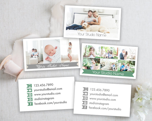 Business Card Template - 3 Front Templates Options - Gray Tabs