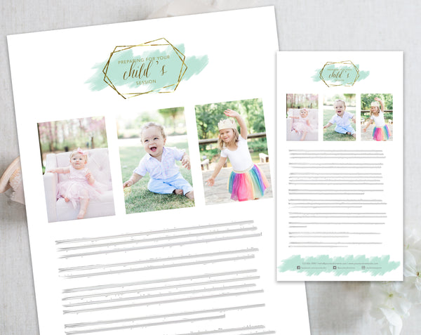 Child's Client Prep Guide Template - Gold + Mint Watercolor