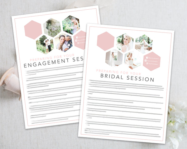 Bridal & Engagement Client Prep Guide Templates - Pink Hexagon