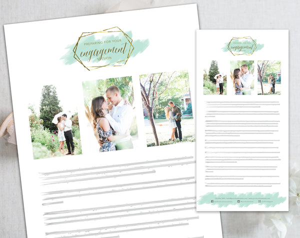 Engagement Client Prep Guide Template - Gold + Mint Watercolor