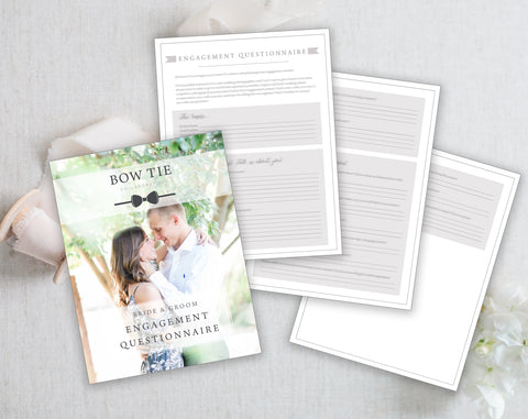 Bride & Groom Engagement Questionnaire Photoshop Template