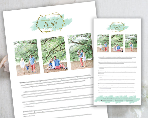 Family Client Prep Guide Template - Gold + Mint Watercolor