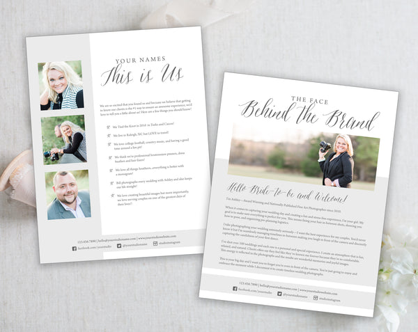 2 Page About Us Templates - Modern Gray