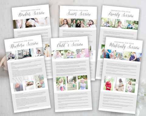 Photography Client Preparation Guides - 6 Pack, Newborn, Maternity, Child's, Senior, Boudoir and Family