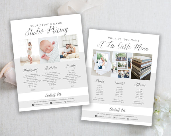 Price List - Photography - Modern Gray