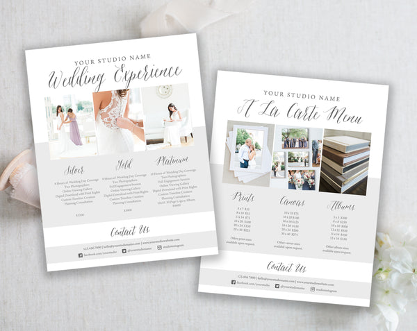 Price List Templates- Wedding - Modern Gray