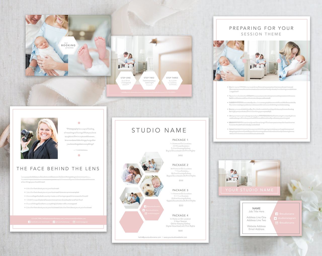 Hexagon Studio Marketing Bundle, Bio Page, Price List, Prep Guide, Business Card and Marketing Card