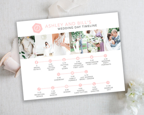 Wedding Timeline Template with Wedding Icons - Pink Hexagon