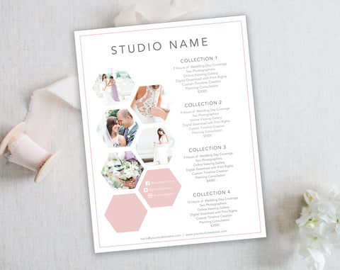 Hexagon Wedding Template for Photographers. Wedding Price List. Instant Download