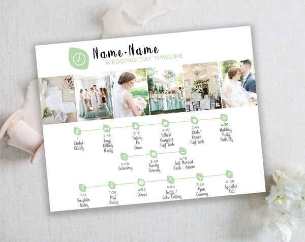 Wedding Timeline Template with Wedding Icons - Green Leaf